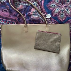 NWT Victoria's Secret Gold Tote and makeup bag